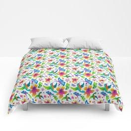 Flight and Flowers Comforters