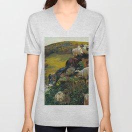 """William Holman Hunt """"Our English Coasts (Strayed Sheep)"""" Unisex V-Neck"""