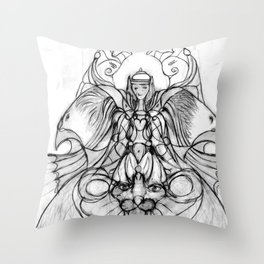 Girl with lion and eagles Throw Pillow