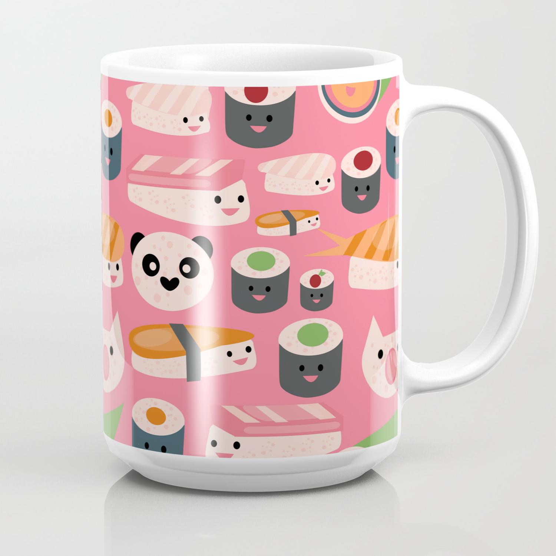 Kawaii Sushi Hot Pink Coffee Mug By