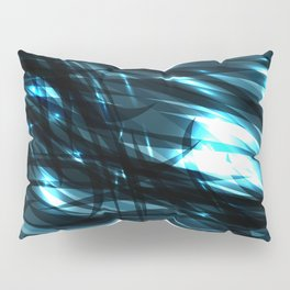 glowing cosmic azure background of cobalt metal lines. For registration of paper or banners. Pillow Sham