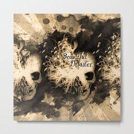 Beautiful Disaster Dreaming Skull in Sepia Metal Print