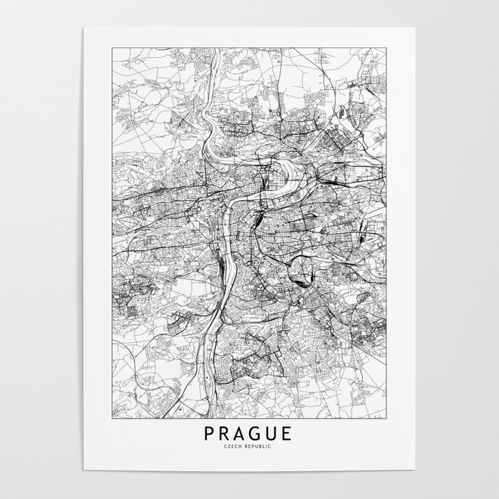 Prague White Map Poster