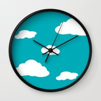 airplanes Wall Clocks featuring Paper Airplanes - You Can Fly - Cloud Variation - Deep Teal by Sugar Spice and Nutmeg