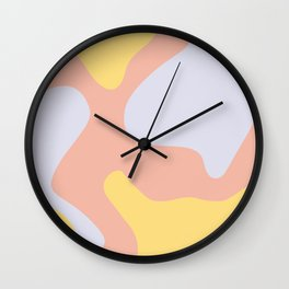 Soft Blobs Abstract in Lavender, Yellow, and Blush Pink Wall Clock