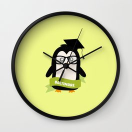 Penguin nerd from Baltimore T-Shirt for all Ages Wall Clock
