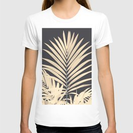 Inverted Vision | White sepia palm tree leaf photography on grey black T-shirt
