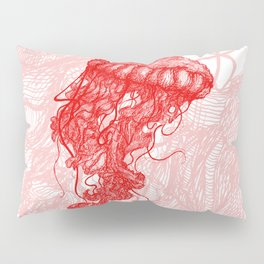 Jellyfish (Red on White Variant) Pillow Sham