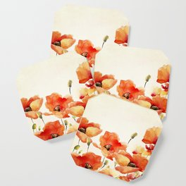 Poppy Flower Meadow- Floral Summer lllustration Coaster