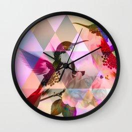 Geometric, pastel, bird print Wall Clock
