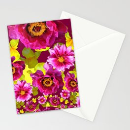 MODERN FUCHSIA & YELLOW FLORALS  ART Stationery Cards