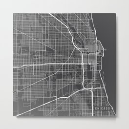 Chicago Map, USA - Gray Metal Print