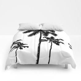 Monochrome tropical palms Comforters