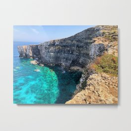 Crystal Blue Sea along a Rocky Coast Metal Print