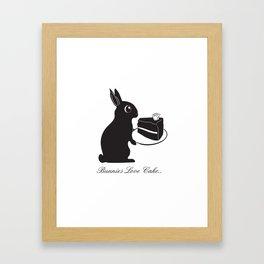 Bunnies Love Cake, Bunny Illustration, cake lovers, animal lover gift Framed Art Print