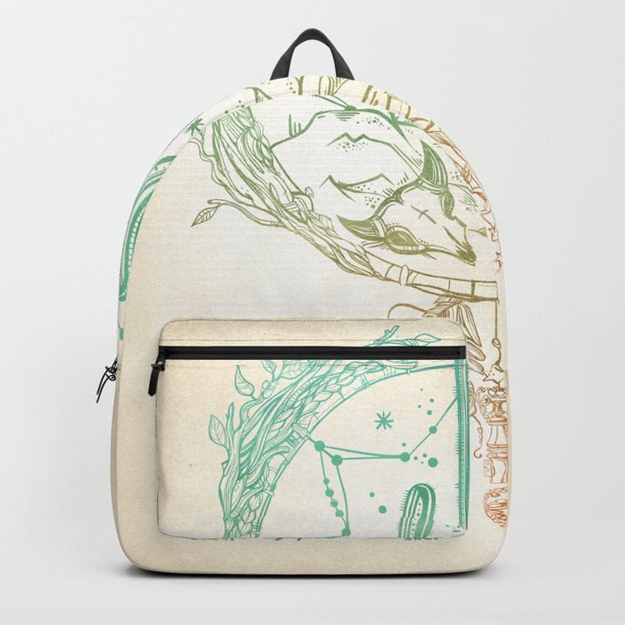 Desert Cactus Dreamcatcher Turquoise Coral Gradient Backpack