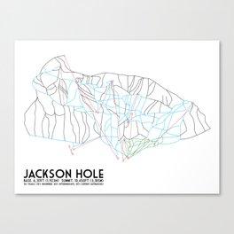 Jackson Hole, WY - Minimalist Trail Map Canvas Print