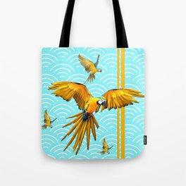 MODERN  AQUA BLUE & GOLD TROPICAL MACAWS IN FLIGHT Tote Bag