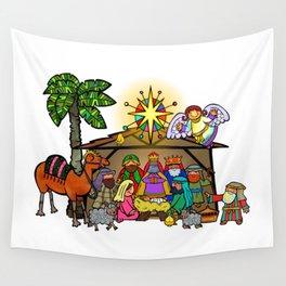 Christmas Nativity Cartoon Doodle Wall Tapestry