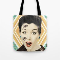 bees Tote Bags featuring bees by Sloni
