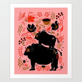 FOLK BUFFALO Art Print