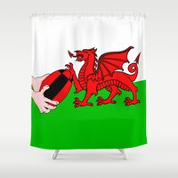 rugby Shower Curtains featuring Wales Rugby Flag by mailboxdisco