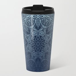 Mandala Deep Blue Bohemian Ombre Travel Mug
