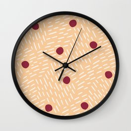 Polka dots and dashes // peach and burgundy Wall Clock