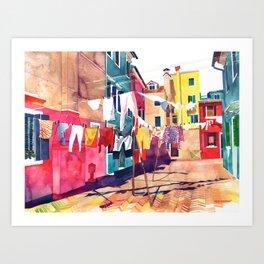 Laundry in Venice Art Print
