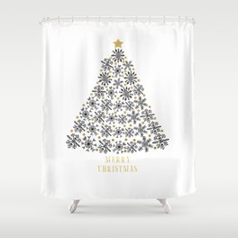 Snowflakes Tree (black gold) Shower Curtain