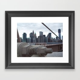 Brooklyn Bridge, New York City, Structural Architecture, Suspension Cable attachments Framed Art Print