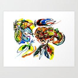 cameleon in love Art Print