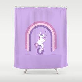 Unicycle Unicorn Shower Curtain