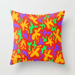 Abstract cute whimsical bright funny shapes on red background. Colorful retro stylish trendy design. Throw Pillow