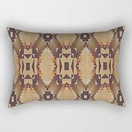 Khaki Tan Orange Dark Brown Native American Indian Mosaic Pattern Rectangular Pillow