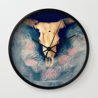 sugar skull Wall Clocks featuring Sugar & Skull by RDelean