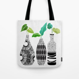Black and White Tribal Vases Tote Bag