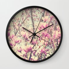 Magnolia Blossoms Early Spring Botanical Wall Clock