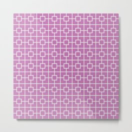 Orchid Purple Square Chain Pattern Metal Print