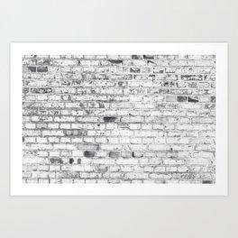 Withe brick wall Art Print