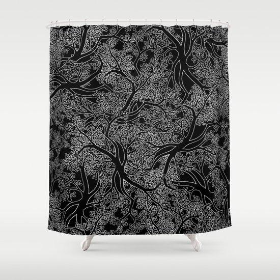 Tree Repeat Black Shower Curtain