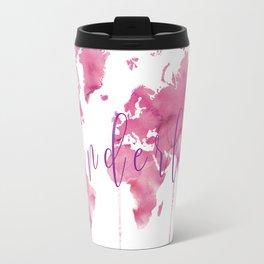 World Map Wanderlust - Pink Watercolor Travel Mug