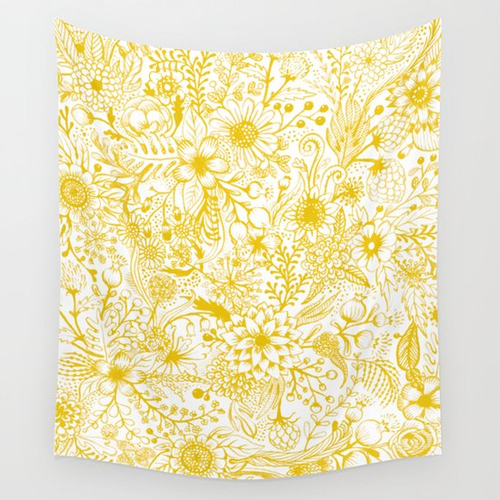 Yellow Floral Doodles by kirstensevig