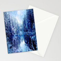 Blue Winter Wonderland : Forest Mirror Lake Stationery Cards