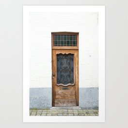 Wood Door with Wrought Iron Detail, Bruges Art Print