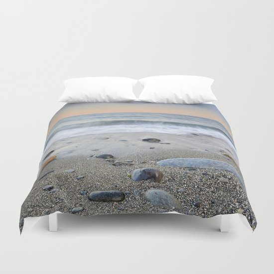 """Mediterranean waves at sunset"". Pink sunset Duvet Cover"