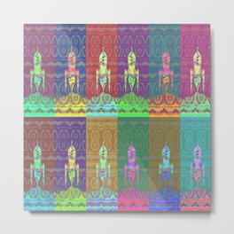 Twelve Colorful Space Rockets Metal Print
