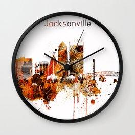 Jacksonville Florida Red Yellow Skyline Wall Clock
