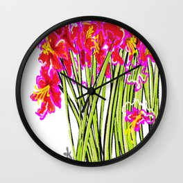 Red Flowers again, Hybiscus Wall Clock