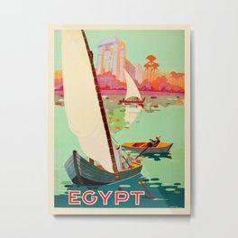 Vintage Egypt Travel Poster Nile River Sailboat Colorful Commercial Advertisement Metal Print